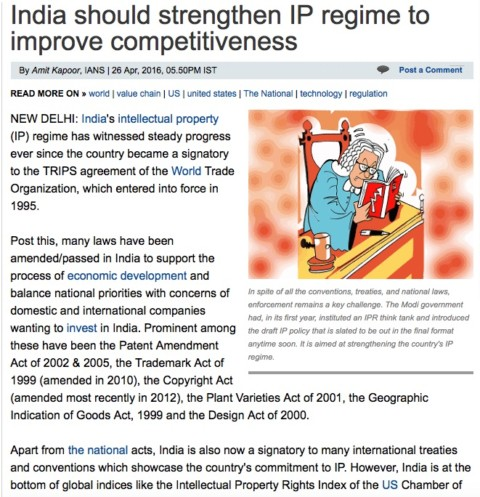 India should strengthen IP regime to improve competitiveness