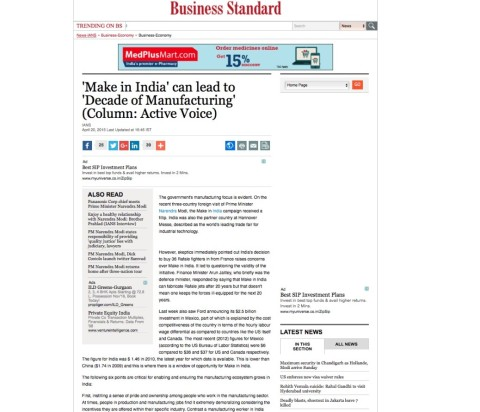'Make in India' can lead to 'Decade of Manufacturing'