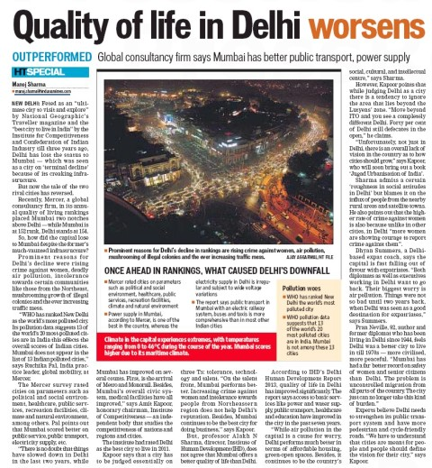 Quality of life in Delhi worsens