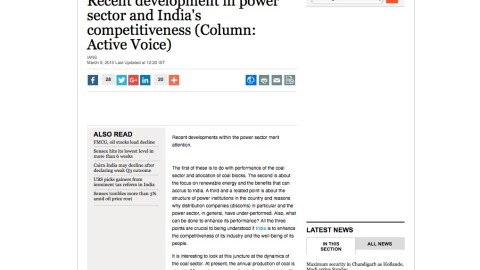 Recent development in power sector and India's competitiveness