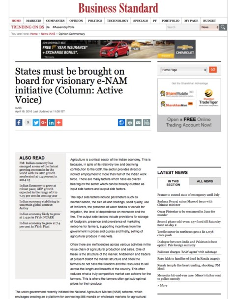States must be brought on board for visionary e-NAM initiative