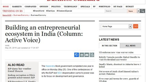 Building an entrepreneurial ecosystem in India