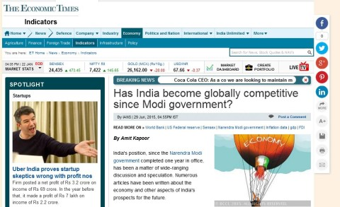 Has India become globally competitive since Modi government?