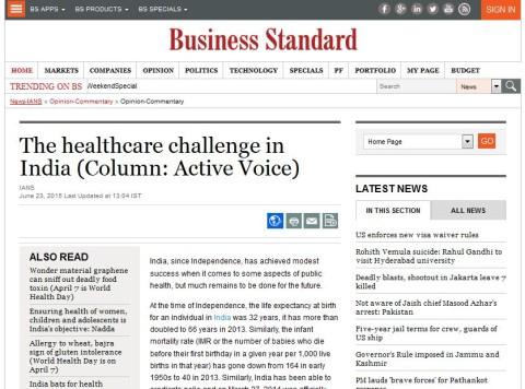 The healthcare challenge in India