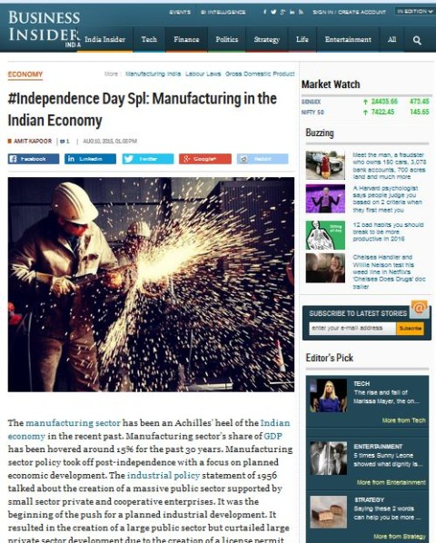 Manufacturing in the Indian Economy