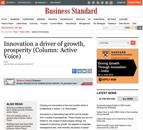 Innovation a driver of growth, prosperity