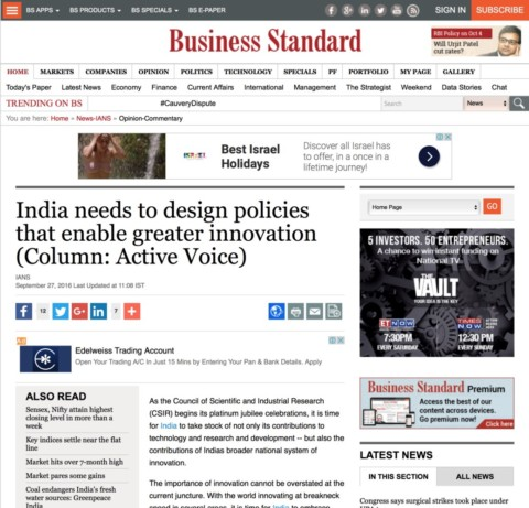 India needs to design policies that enable greater innovation