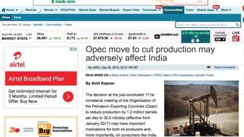 Opec move to cut production may adversely affect India