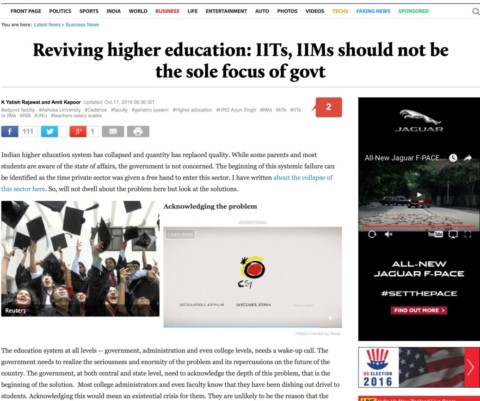 Reviving higher education: IITs, IIMs should not be the sole focus of govt