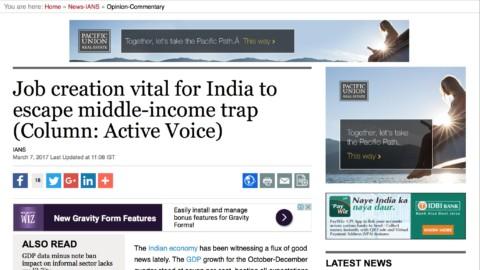 Job creation vital for India to escape middle-income trap