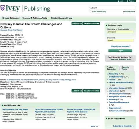 Diversey in India: The Growth Challenges and Options (Ivey Publishing)