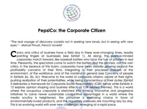 Pepsico: The Corporate Citizen