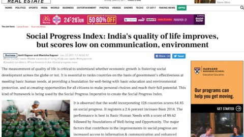 Social Progress Index: India's quality of life improves, but scores low on communication, environment