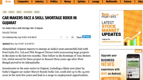 Car Makers Face a Skill Shortage Rider in Gujarat