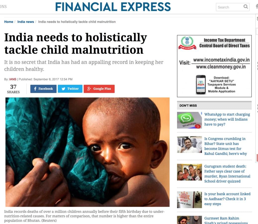 India needs to holistically tackle child malnutrition – AMIT