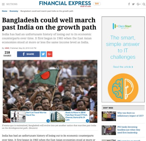 Bangladesh could well march past India on the growth path
