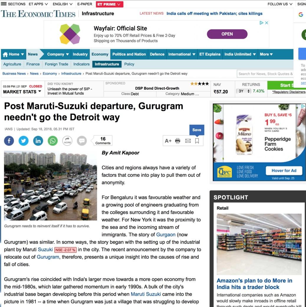 Post Maruti-Suzuki departure, Gurugram needn't go the