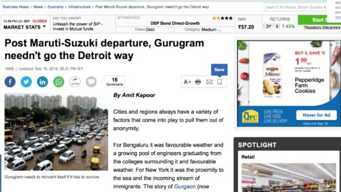 Post Maruti-Suzuki departure, Gurugram needn't go the Detroit way