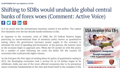 Shifting to SDRs would unshackle global central banks of forex woes