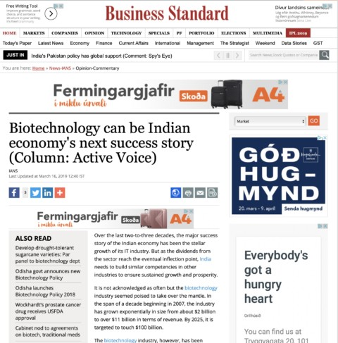 Biotechnology can be Indian economy's next success story