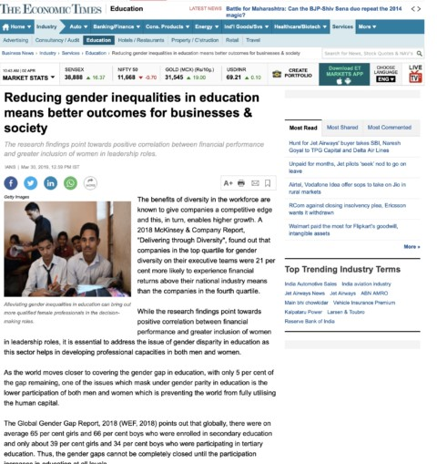 Reducing gender inequalities in education Better outcomes for businesses and society