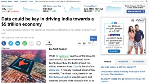 Data as a Driver of the Indian Economy