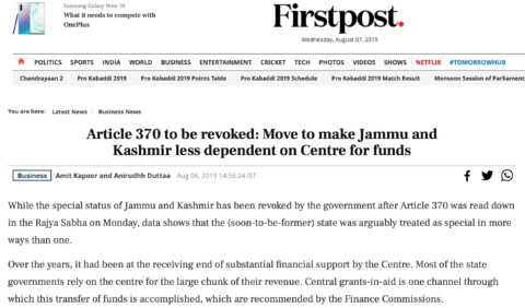Article 370 to be revoked: Move to make Jammu and Kashmir less dependent on Centre for funds