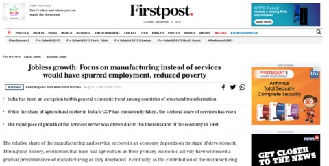 Jobless growth: Focus on manufacturing instead of services would have spurred employment, reduced poverty