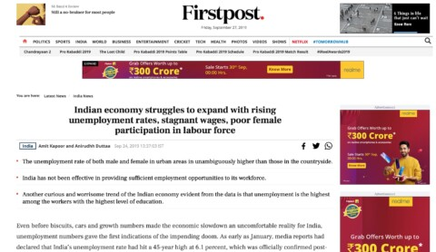 Indian economy struggles to expand with rising unemployment rates, stagnant wages, poor female participation in labour force