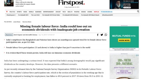 Missing female labour force: India could lose out on economic dividends with inadequate job creation