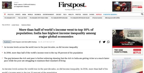 More than half of world's income went to top 10% of population; India has highest income inequality among major global economies