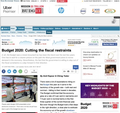 Budget 2020: Cutting the Fiscal Restraints